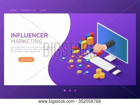 3d Isometric Web Banner Businessman Hand With Magnet Attracting Social Media Icon. Social Media Infl