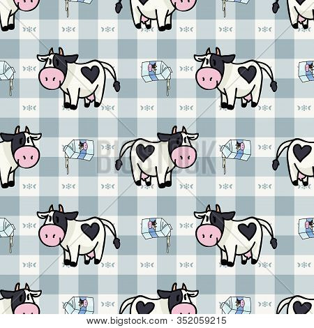 Hand Drawn Dairy Cute Cow And Pouring Milk Carton Seamless Vector Pattern. Kawaii Horned Livestock M