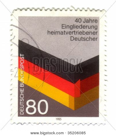 Germany- Circa 1985: Stamp Printed By Germany, Shows 40Th. Anniversary Of Integration Of Refugees, -