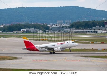 Zurich, Switzerland - July 19, 2018: Iberia airlines airplanes taking-off at day time in international airport