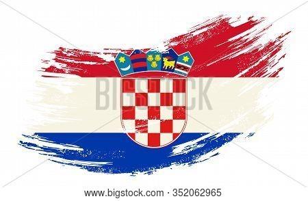 Croatian Flag Grunge Brush Background. Vector Illustration.