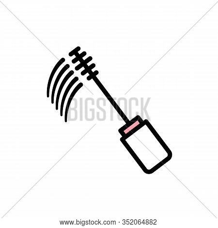 Vector Linear Mascara Brush Icon With Black Stroke, White And Pink Fill. Mascara Brush Leaves A Blac