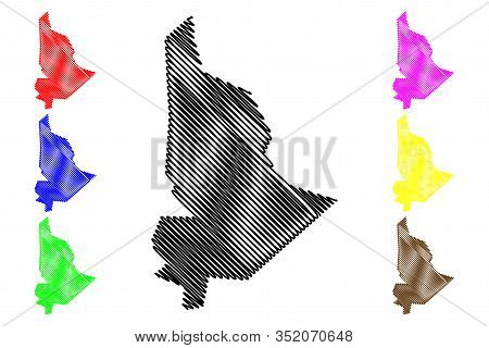 Plaines Wilhems District (republic Of Mauritius, Island, Districts Of Mauritius) Map Vector Illustra