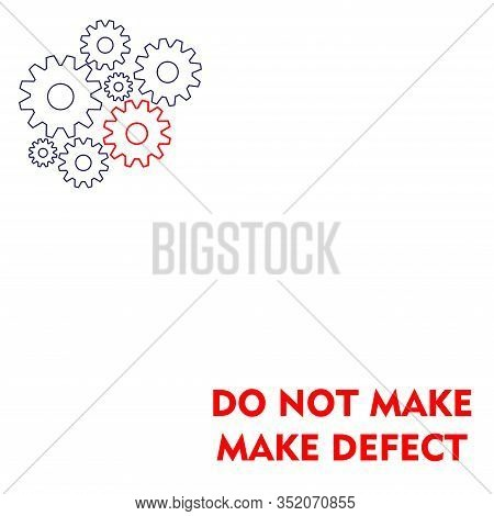 Lean Manufacturing Icon, Golden Rulls, Quality Concept. Vector Illustration. Sign Do Not Make Defect