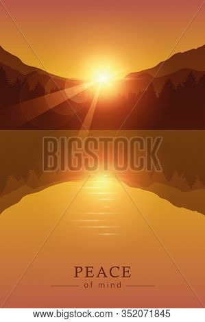 Beautiful Sunrise By Peaceful Lake On Mountain Autumn Nature Landscape Vector Illustration Eps10
