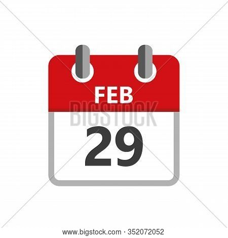 29 February In The Leap Year Calendar On White Background Vector Illustration Eps10