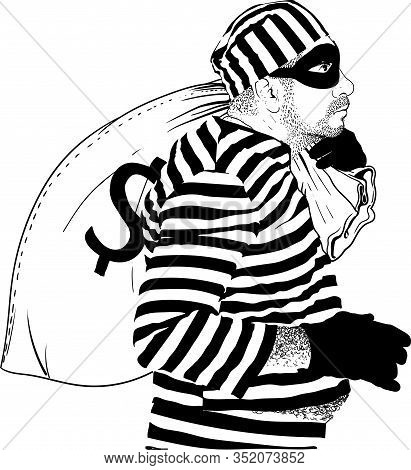Comic Character Thief In A Striped Prisoner Robe And Black Mask On His Face Stole A Big Sack Of Doll