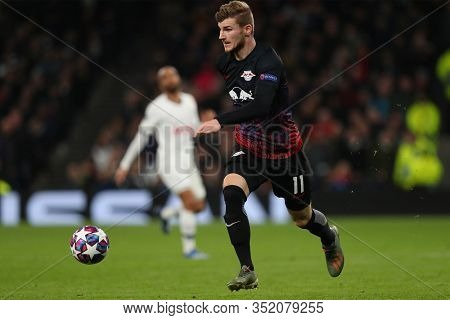 LONDON, ENGLAND. 19 FEBRUARY 2020. Forward Timo Werner Of Leipzig runs with the ball during the UEFA Champions League match between Tottenham Hotspur and RB Leipzig, at The Tottenham Hotspur Stadium,