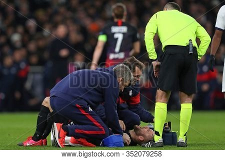 LONDON, ENGLAND. 19 FEBRUARY 2020. Midfielder Konrad Laimer Of Leipzig gets treatment on an injured shoulder during the UEFA Champions League match between Tottenham Hotspur and RB Leipzig