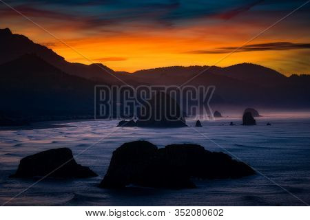 Lovely Sky With Stunning Colors Over The Oregon Coast Just Before Dawn