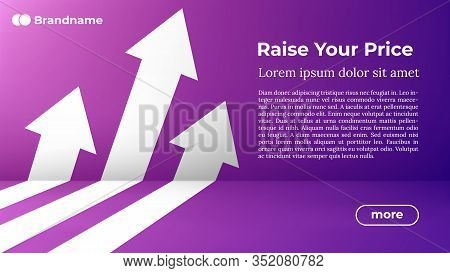 Rise Your Price - Web Template In Trendy Colors. Business Arrow Target Direction To Growth And Succe