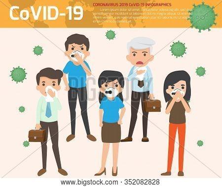 Coronavirus : Cov Infographics Elements, Human Are Showing Coronavirus Symptoms And Risk Factors. He