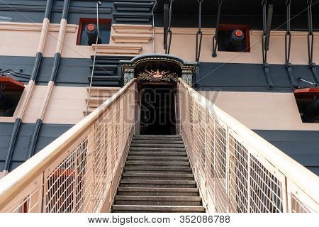 The Entrance Of Hms Victory The Admiral Horatio Nelson's Flagship At The Battle Of Trafalgar In 1805