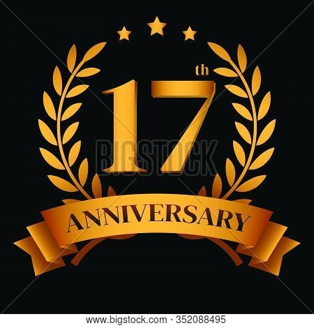 17th Golden Anniversary Logo,with Laurel Wreath And Gold Ribbon Vector Illustration