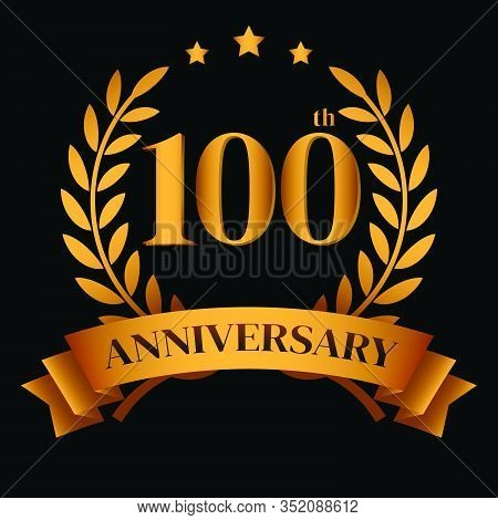 100th Golden Anniversary Logo,with Laurel Wreath And Gold Ribbon Vector Illustration