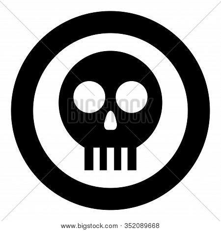 Human Skull Cranium Icon In Circle Round Black Color Vector Illustration Flat Style Simple Image