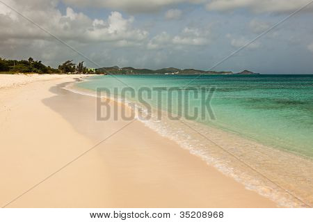 Landscape Of Sandy Tropical Caribbean Runaway Beach Antigua