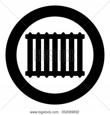 Cast Iron Battery Heating Radiator Icon In Circle Round Black Color Vector Illustration Flat Style S