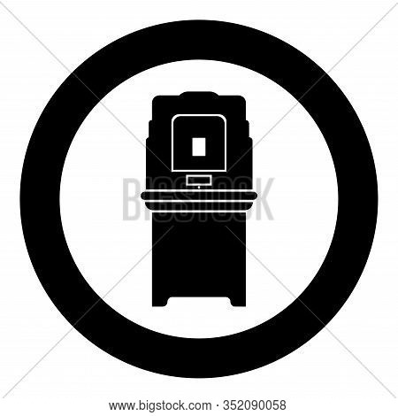 Electoral Voting Machine Electronic Evm Election Equipment Vvpat Icon In Circle Round Black Color Ve