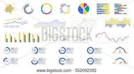 Modern Infographic Template With Stock Diagrams And Statistics Bars, Line Graphs And Charts For Fina