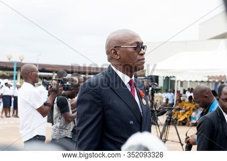 Abidjan, Ivory Coast - August 3, 2017: Arrival Of The Godfather At The End Of Cycle Ceremony For Mar
