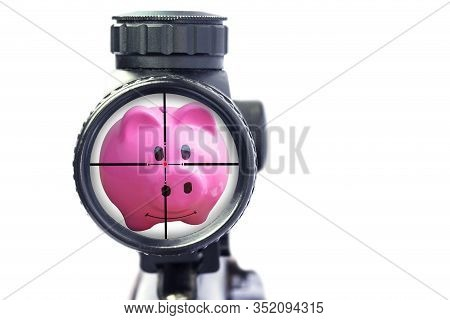 Hunting For Specials And Aim To Save Symbol Of Finance Represented By A Pink Piggy Bank With An Aimi