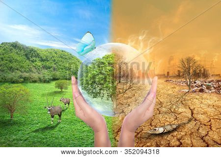 Global Warming And Human Waste ,pollution Concept.sustainability.  Showing The Effect Of Arid Land W