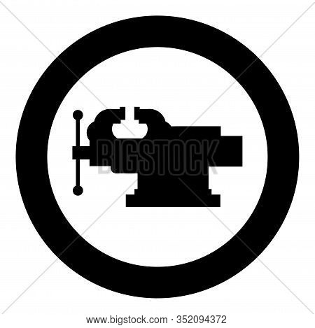 Vice Jaw Vise Repair Clamp Tool Icon In Circle Round Black Color Vector Illustration Flat Style Simp