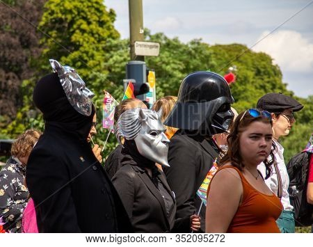 Malmö, Sweden - July 20, 2019: People Wearing Sci-fi Inspired Masks (darth Vader) To Show People Tha