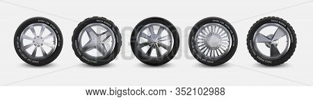 Realistic Tires Set. Truck Wheels Isolated On White, Winter And Summer Car Tires, 3d Detailed Alumin