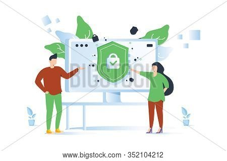 Privacy Policy. Protecting Your Privacy. Vector Colorful Illustration, The Concept Of Protecting Com