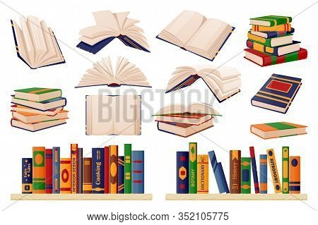 Colorful Paper Books Collection. Vector Flat Cartoon Illustration. Isolated Learning And Education I