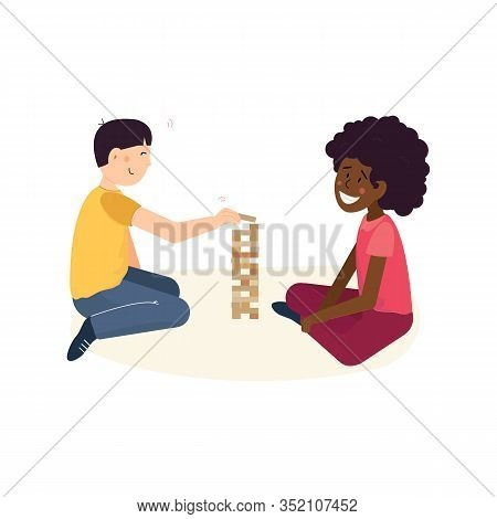 Multi Cultural Friendship And Teenager Friends Pastime Concept. Two Children - Asian Boy And African