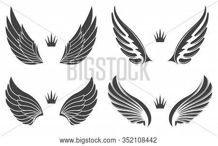 Set Of Four Pairs Of Wings With Crowns.