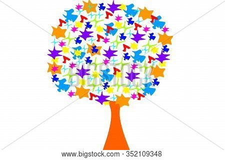 Vector Illustration Of Colored Tree Made Of Abstract Shapes. Asymmetric Tree Shape.