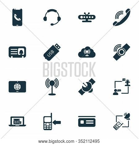 Telecommunication Icons Set With Access Point, Tv Box, Letter And Other Tablet Communication Element