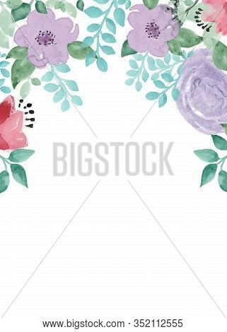 Greeting Card With Watercolor Flowers In Png Format On A Transparent Background.  Illustration.