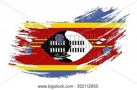 Eswatini Flag Grunge Brush Background. Vector Illustration.