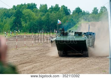 Tyumen, Russia - August 10, 2019: International Army Games. Engineering Formula Contest. Speed Drivi
