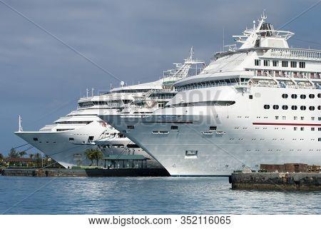 Three Cruise Liners Moored In Nassau Harbour (nassau, Bahamas).