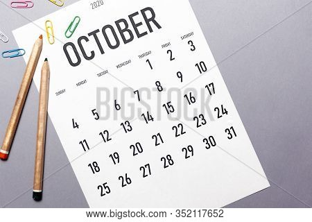 October 2020 Simple Calendar With Office Supplies And Copy Space