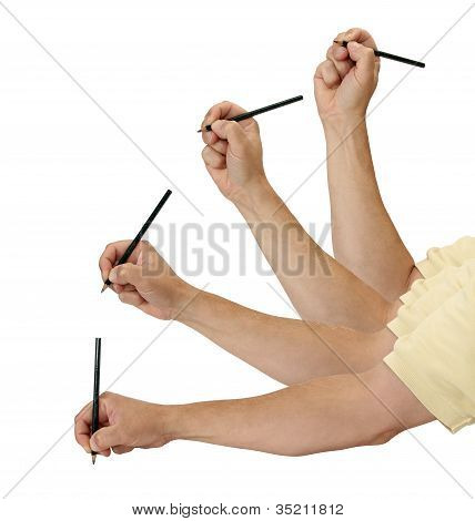 Pencil And Hand In Motion