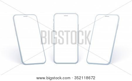 Mobile Phone Side View Set. White Smartphone Collection In Different Angles And In Perspertive Point