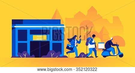 Post Office Building And Postmen, Mailmen Or Messengers Delivering Parcels Or Packages. Couriers Wal