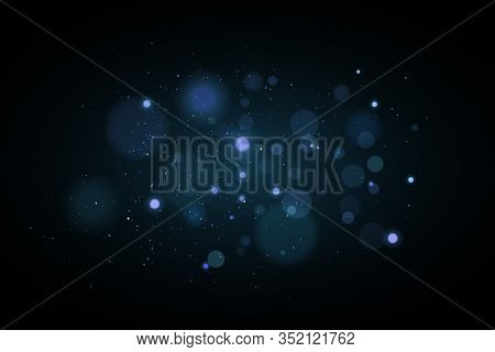 Lights Bokeh On A Black Background. Glares With Flying Glowing Particles. Ligh Effect. Vector Illust