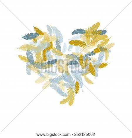 Glamour Silver Gold Feathers Vector Background. Plumage Bohemian Fashion Shower Decor. Detailed Maje