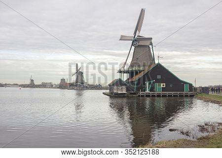 Zaanse Schans, Zaandam, Zaandijk,the Netherlands, 20 January 2020. Historic Windmills Of Zaanse Scha