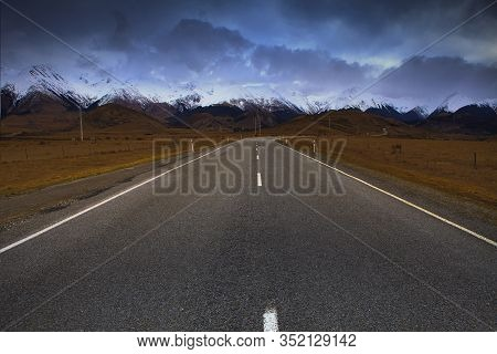 Beautiful Scenic Of Road In Arthur's Pass National Park South Island New Zealand