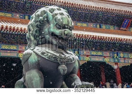 Beijing, China - February 12, 2019: Traditional Lion Sculpture In Front Of Gate Of Supreme Harmony I