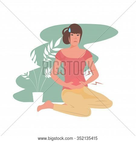 Woman Suffering From Abdominal Pain Injury On Belly Area Girl Having Stomach Ache Full Length Vector